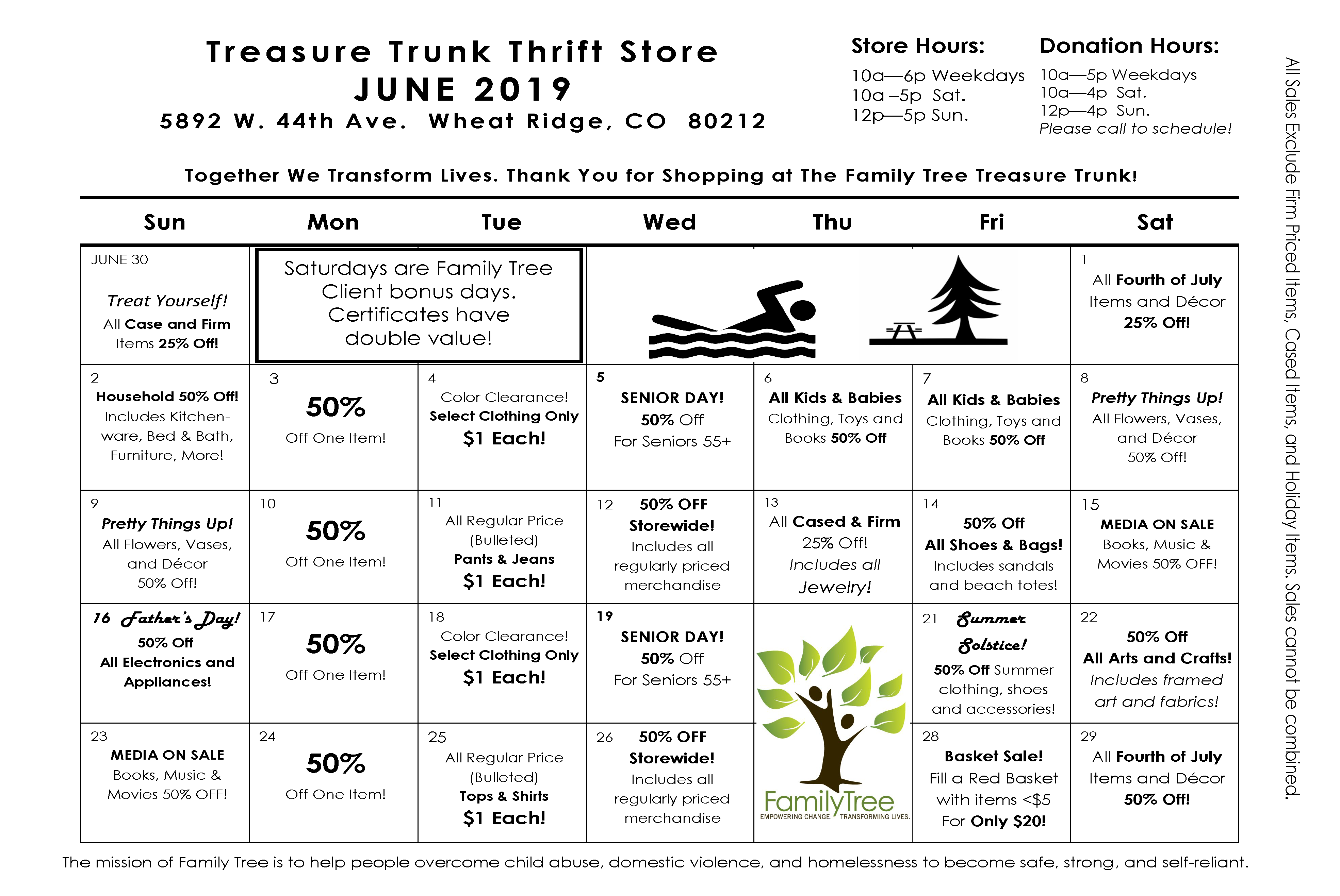 June Treasure Trunk Community Thrift Calendar