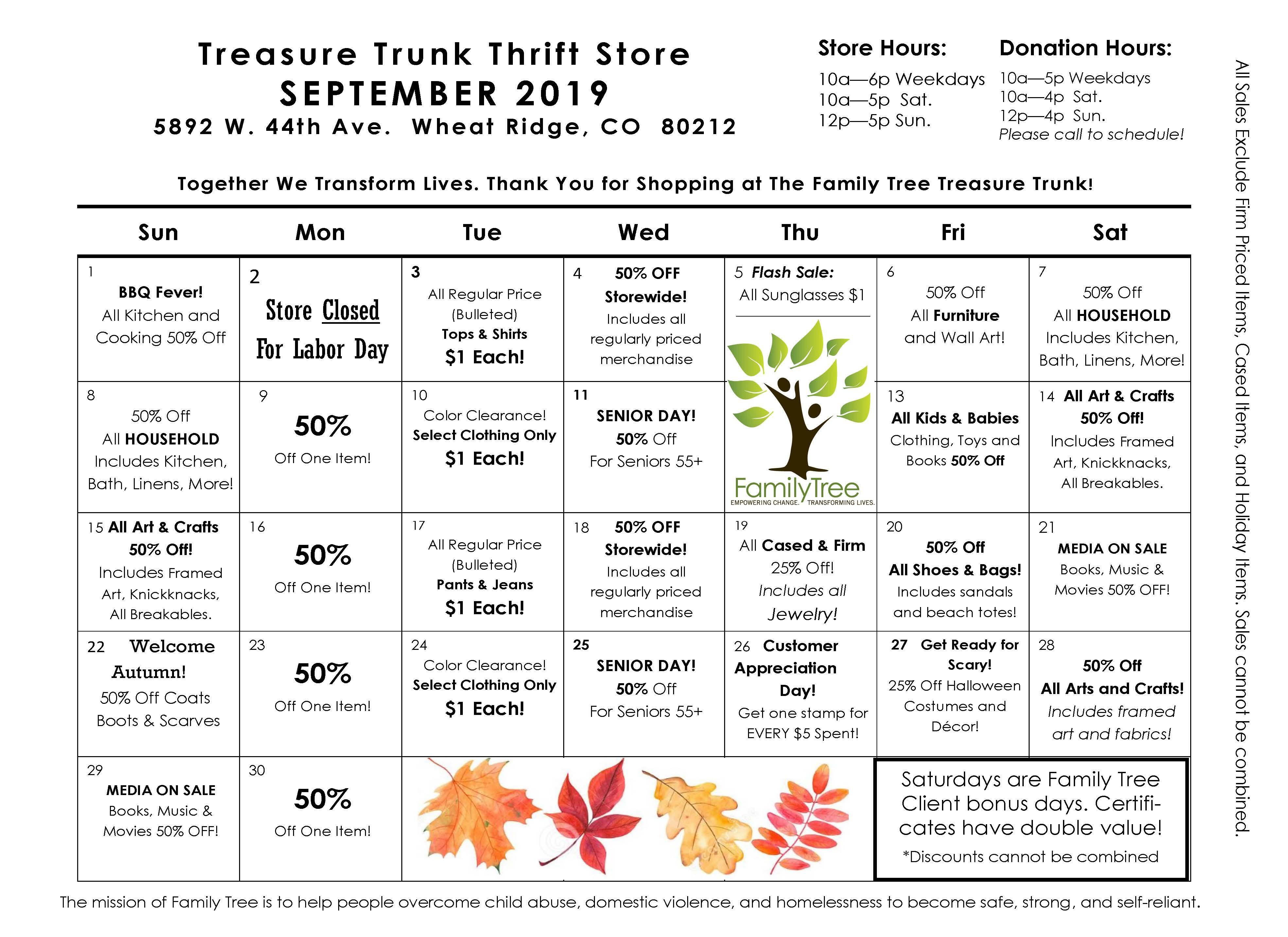 Treasure Trunk Community Thrift Store | Family Tree